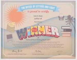 NaNoWriMo Winner Certificate 2011